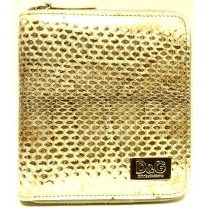 D&G DP0422 メンズ 2つ折り財布 フルジッパータイプ ヘビ革 オフホワイト |allegrezza