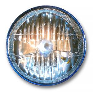 マルチリフレクターヘッドライト 180mm(180φ)(180パイ)  カラーレンズタイプ ブルー 上質メッキ仕上げ 汎用品|alleguretto88jp