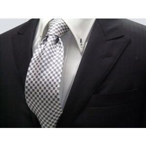 ホワイト(白)×シルバーグレー市松模様ネクタイ / 結婚式・披露宴・フォーマル・礼装/IT018 allety-y