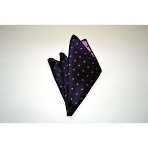 濃い紫地に濃いピンクのドット(水玉)柄ポケットチーフ(チーフ30cm) / PCN-MZ003|allety-y