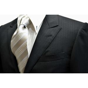 シルバーグレー地に白のドット柄とブルーのストライプネクタイ / 結婚式・披露宴・フォーマル・礼装/30%OFF/STN-S11087|allety-y