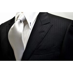 無地(縦ライン)/シルバーグレーのソリッド(無地)ネクタイ / 結婚式・披露宴・フォーマル・礼装/SO-002 allety-y