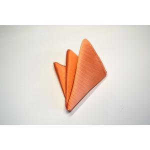 無地(縦ライン)/淡いオレンジソリッド(無地)ポケットチーフ(チーフ30cm) / PC-SO016|allety-y