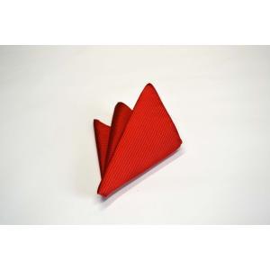 無地(縦ライン)/レッド(赤)少しオレンジかかったソリッド(無地)ポケットチーフ(チーフ30cm) / PC-SO018|allety-y