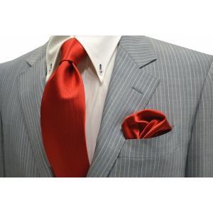 無地(縦ライン)/レッド(赤)少しオレンジかかったソリッド(無地)ネクタイ・チーフセット(チーフ30cm) / CS-SO018|allety-y