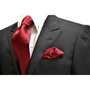無地(縦ライン)/濃い赤(少しワインぽい赤)ソリッド(無地)ネクタイ&チーフセット(チーフ30cm) / CS-SO021|allety-y