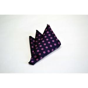 濃い紫地に濃いピンクのドット(水玉)ポケットチーフ(チーフ30cm) / PCN-MZ008|allety-y