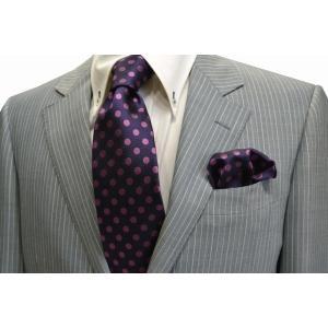 濃い紫地に濃いピンクのドット8mm(水玉)ネクタイ&ポケットチーフセット(チーフ23cm) / CSN-MZ008 allety-y