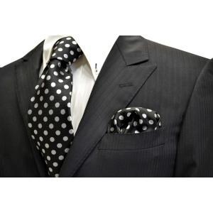 黒(ブラック)地に白(少しシルバーぽい)のドット5mm柄ネクタイ&ポケットチーフセット(チーフ30cm) / CSN-MZ009 allety-y