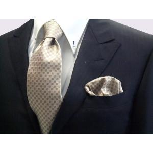 ゴールド×ベージュの市松模様ネクタイ&ポケットチーフセット(チーフ23cm) / CS-IT023|allety-y
