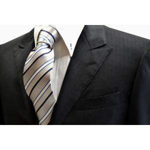 シルバー地にブルーと白とネイビーのストライプネクタイ / 結婚式・披露宴・フォーマル・礼装/STN-S12008|allety-y