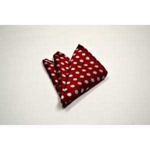 濃いレッド(赤)に生成りのドット柄ポケットチーフ(チーフ23cm) / PCN-MZ011|allety-y