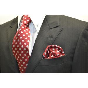 濃いレッド(赤)に生成りのドット8mm柄ネクタイ&ポケットチーフセット(チーフ30cm) / CSN-MZ011 allety-y