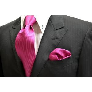 無地(縦ライン)/濃いローズピンクのソリッド(無地)ネクタイ&チーフセット(チーフ30cm) / CS-SO023|allety-y