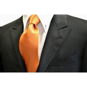 無地(縦ライン)/オレンジ(濃い)ソリッドネクタイ(縦にライン) / SO-027|allety-y