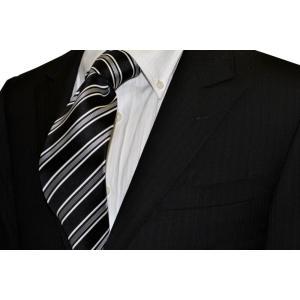 ブラック地にホワイトのストライプネクタイ・モーニング用 / 結婚式・披露宴・フォーマル・礼装/STN-S16032|allety-y