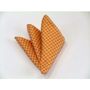 オレンジ市松模様ポケットチーフ(チーフ30cm) / PC-IT016|allety-y