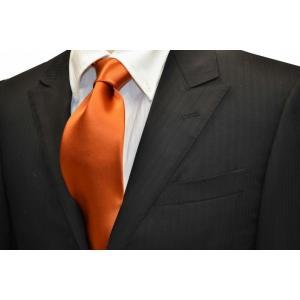 無地(シルクサテン)/テラコッタ(明るいレンガ色の様なオレンジ)サテン・ネクタイ / AP-014|allety-y