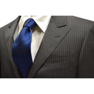 濃いブルーのバスケット織・無地ネクタイ / MUT-B004|allety-y