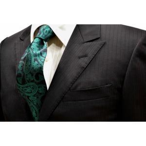 黒地に大柄のグリーンのペイズリー柄ネクタイ / PEZ-010|allety-y