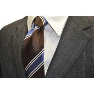 こげ茶色(濃いブラウン)地に、2本線のシルバーと、ブルーのヤスラ織りストライプネクタイ  / STN-19W044|allety-y