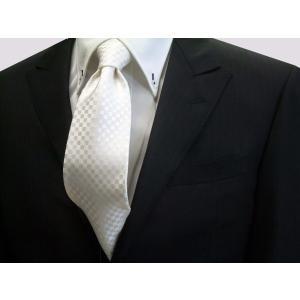 白(ホワイト)(少し黄身かかっています)結婚式用市松模様ネクタイ / 結婚式・披露宴・フォーマル・礼装/IT008|allety-y