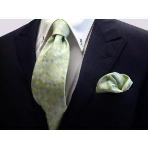 ライトグリーンのグラデーション(4色)の市松模様ネクタイ&チーフセット(チーフ23cm) / CS-IG002|allety-y