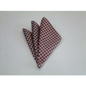 エンジ×きなりの千鳥格子ポケットチーフ(チーフ23cm) / PCN-TD003|allety-y