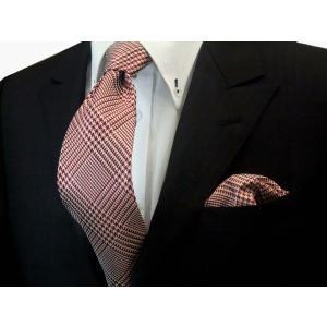 赤(レッド)と生成のグレンチェックネクタイ&ポケットチーフセット(チーフ30cm) / CSN-GR002|allety-y