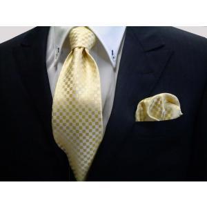 イエロー(黄色)市松模様ネクタイ&ポケットチーフセット(チーフ30cm) / 結婚式・披露宴・フォーマル・礼装/CS-IT003|allety-y