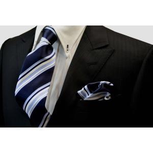 濃い紺地に白と水色のストライプネクタイ&チーフセット(チーフ23cm) / CSN-SS11012|allety-y