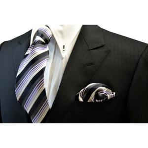 黒と紫のグラデーションのネクタイ&ポケットチーフセット(チーフ23cm) / CSN-SS11020|allety-y