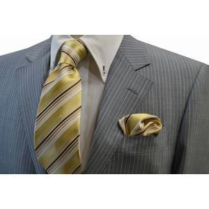 黄色とゴールドと茶系のグラデーションネクタイ&ポケットチーフセット(チーフ23cm) / CSN-W13029|allety-y
