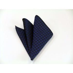 濃い青(ブルー) 市松模様ポケットチーフ(チーフ30cm) / PC-IT012|allety