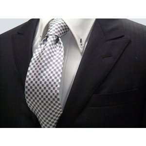 ホワイト(白)×シルバーグレー市松模様ネクタイ / 結婚式・披露宴・フォーマル・礼装/IT018|allety