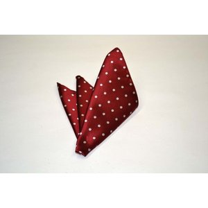 濃い赤(レッド)地に白の水玉(ドット)柄ポケットチーフ(チーフ30cm) / PCN-MZ002|allety