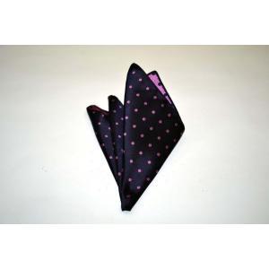 濃い紫地に濃いピンクのドット(水玉)柄ポケットチーフ(チーフ30cm) / PCN-MZ003|allety
