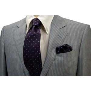 濃い紫地に濃いピンクのドット5mm(水玉)柄ネクタイ&チーフセット(チーフ23cm) / CSN-MZ003|allety