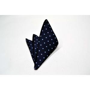 紺(ネイビー)地に水色のドット(水玉)のポケットチーフ(チーフ30cm) / PCN-MZ007|allety