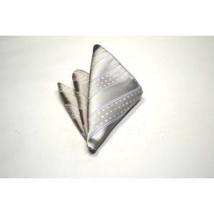 シルバーグレー地に白のドット柄とブルーのストライプのチーフ(チーフ23cm) / 結婚式・披露宴・フォーマル・礼装/30%OFF/PCN-SS11087|allety