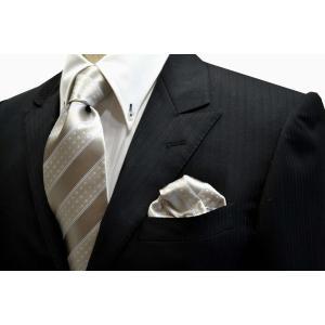 シルバーグレー地に白のドット柄とブルーのストライプネクタイ&チーフセット(チーフ23cm) / 結婚式・披露宴・フォーマル・礼装/30%OFF/CSN-SS11087 allety