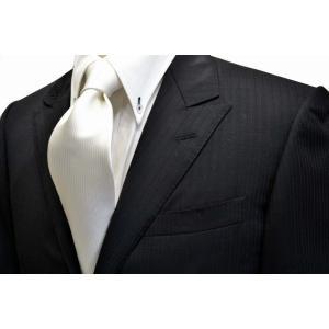 無地(縦ライン)/白のソリッド(無地)ネクタイ(少し黄色かかっています。) / 結婚式・披露宴・フォーマル・礼装/SO-001|allety