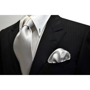 無地(縦ライン)/シルバーグレーのソリッド(無地)ネクタイ&チーフセット(チーフ30cm) / 結婚式・披露宴・フォーマル・礼装/CS-SO002|allety