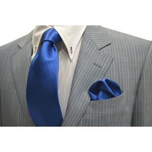 無地(縦ライン)/ブルー(青)のソリッド(無地)ネクタイ&チーフセット(チーフ30cm) / CS-SO010|allety