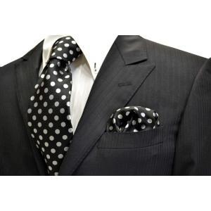 黒(ブラック)地に白(少しシルバーぽい)のドット5mm柄ネクタイ&ポケットチーフセット(チーフ30cm) / CSN-MZ009|allety