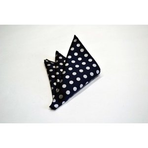 ネイビー(紺)地に白(少しシルバーぽい)のドット柄ポケットチーフ(チーフ23cm) / PCN-MZ010|allety