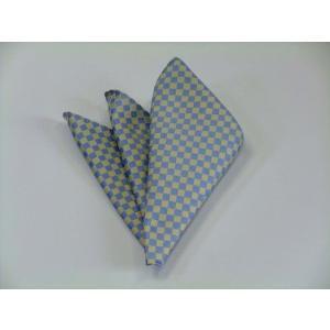 水色(サックスブルー)×レモン色の市松模様ポケットチーフ(チーフ30cm) / PC-IT019|allety