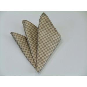 ゴールド×ベージュの市松模様ポケットチーフ(チーフ23cm) / PC-IT023|allety