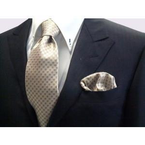 ゴールド×ベージュの市松模様ネクタイ&ポケットチーフセット(チーフ23cm) / CS-IT023|allety