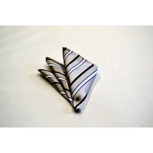 シルバー地にブルーと白とネイビーのストライプポケットチーフ(チーフ23cm) / 結婚式・披露宴・フォーマル・礼装/PCN-SS12008 allety